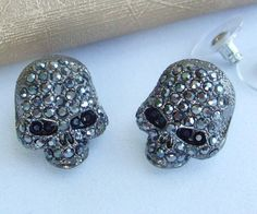 Exquisite Black Tone Crystal Rhinestone Stud Skull Skeleton Earrings Ce3560C2 Skull Pendant, Crystal Rhinestone, Skeleton, Diamond Earrings, Crystals, Ebay, Life, Black, Jewelry