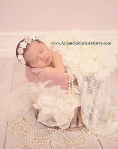 Pink and Ivory Newborn Flower Crown Baby von fabflowerheadbands