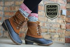 Boot Socks for your Duck Boots!layer up for extra warmth and style! Fall Winter Outfits, Winter Wear, Winter Style, Autumn Winter Fashion, Boot Cuffs, Boot Socks, Snow Boots, Rain Boots, Cabin Socks