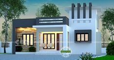 999 square feet, 3 bedroom contemporary style single floor house plan by Dream Form from Kerala. House Balcony Design, Single Floor House Design, Modern Small House Design, House Outside Design, Duplex House Design, Kerala House Design, Independent House, Flat Roof House, Facade House