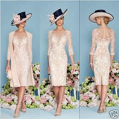 Light Pink Lace Mother Of The Bride Outfit Chiffon Jacket Wedding Guest Dress