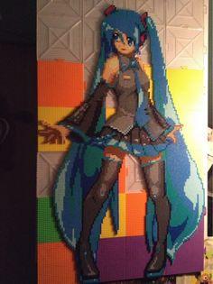 Hatsune Miku - Vocaloid perler bead sprite (28 pegboards) by Zephorixianoth
