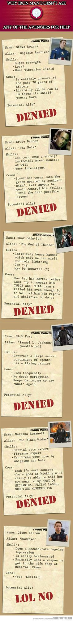 Then one for Banner should be an almost. But Hawkeye, I laughed and laughed