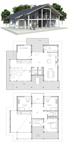 Small house plan good choice for the vacation home three bedrooms carport small home design - Bedroom house plans optimum choice ...