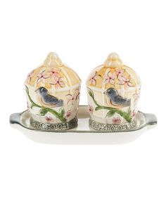 Love this Birds Salt & Pepper Shakers & Tray Set on #zulily! #zulilyfinds