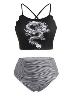 Plus Size Bikini Set, Plus Size Swimwear, Dragon Print, Bra Styles, Fashion Outfits, Fashion Site, Men Fashion, Chinese Style, Swimwear