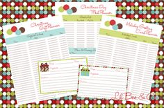 Christmas Checklists Gift, Meal, Card and Recipe Cards