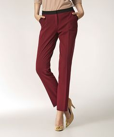 NIFE Maroon Pleat Trouser Pants