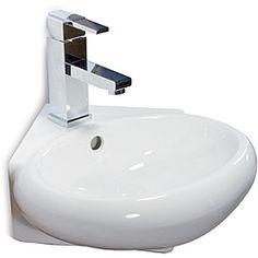 Ceramic 14.5-inch Corner White Wallmount Sink | Overstock.com Shopping - Great Deals on Fine Fixtures Bathroom Sinks