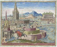 Philips Galle | Muren van Babylon, Philips Galle, Hadrianus Junius, 1572 | De muren van Babylon, in cirkels gebouwd. Linksachter een groot gebouw met toren. Op de voorgrond koningin Semiramis als een amazone te paard. Gewapend met pijl en boog is zij is in gevecht met een leeuw. In de achtergrond de hangende tuinen van Babylon: een botanisch en architectonisch kunstwerk. Onder de voorstelling een vers in het Latijn. Deze prent maakt deel uit van een album.