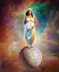 Woman on the Mood described in Revelation She is pregnant, clothed with the sun, standing on the moon, with twelve stars for a crown. Pictures Of Jesus Christ, Bible Pictures, Aphrodite, Revelation Study, Heaven Art, Tarot, Spiritual Paintings, Prophetic Art, Biblical Art