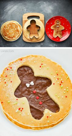 Gingerbread Man Pancakes Use holiday shaped cookie cutters to create unique designs in pancakes. These gingerbread pancakes are especially fun filled with Nutella! You can also sprinkle them with cinnamon or cocoa powder, and then decorate with sprinkles. Christmas Pancakes, Christmas Snacks, Christmas Brunch, Xmas Food, Holiday Treats, Christmas Baking, Christmas Fun, Holiday Recipes, Gingerbread Pancakes