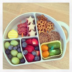 Starwich bites; salami skewers; tomatoes & baby cucumber, Grapes, blueberries, strawberries, pretzels and gluten-free crackers for snacks