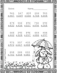Easter Themed 3 Digit Addition With Regrouping Math Practice Worksheets, Math Resources, Addition And Subtraction, Addition Games, 2nd Grade Math, Second Grade, Math Games, Maths, Math Numbers