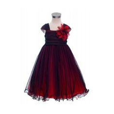 ~ Gorgeous two-tone black/red flower girl dress www.flowergirlsandbrides.co.nz