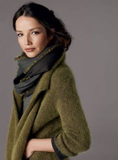 Grey and olive cardigan. I love all the yummy olive tones, and how it looks like she's wearing living moss.