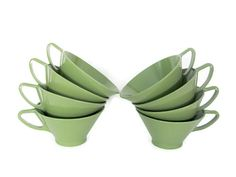 Vintage Melmac Cups 1960's Avocado Green Cups by ThirstyOwlVintage