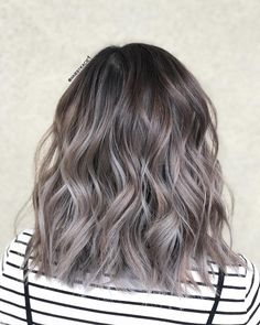 Long Wavy Ash-Brown Balayage - 20 Light Brown Hair Color Ideas for Your New Look - The Trending Hairstyle Ombre Hair Color, Hair Color Balayage, Ash Brown Balayage, Ash Blonde Highlights On Dark Hair, Ashy Blonde Balayage, Pelo Color Caramelo, Ash Hair, Ash Grey Hair, Cool Tone Brown Hair