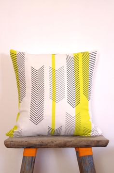 Cushion Cover Arrow Chevron Black  White Print with Yellow Stripes | Neon Vintage Design