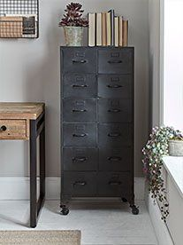 Made from black iron with a distressed finish, our industrial style cabinet is a bold way to introduce this trend to your home. Complete with twelve drawers and weighty black frame, it sits on four whee Loft Storage, Table Storage, Storage Cabinets, Locker Storage, Display Cabinets, Storage Units, Cabinet Furniture, Living Furniture, Luxury Furniture