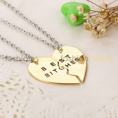 Split heart gold best friends necklace with chain. You need to wear this with your Partner in Crime ! Style Tip: Its all about accessorizing. Make any outfit go from casual to glam with Fashion Pickle