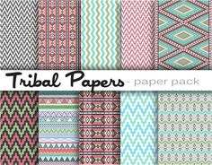 TRIBAL PATTERNS Paper Pack Digital Download  10 by DigitalAlice