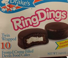 Drake's Cakes Ringdings Frosted Creme Filled Devils Food Cakes Free Shipping | eBay