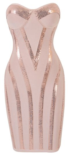 Clothing : Bandage dresses : 'Michaela' Light Pink Sequin Strapless Bandage Dress
