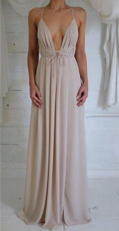 Nude low-back with elastic waistband Prom Dress cross-over
