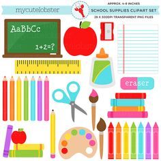 School Supplies Clipart Set  stationery by mycutelobsterdesigns