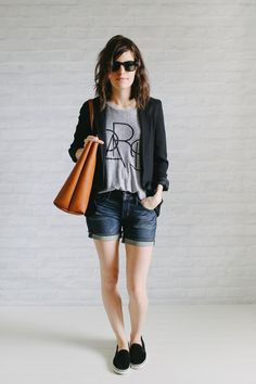 love this look, except I would switch out the shorts. they look great on her, but not for me.