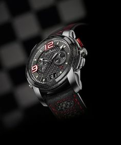 The 2012 Blancpain L-Evolution Super Trofeo watch has a flyback chronograph and incorporates  materials found in Lamborghini cars, including carbon fiber in the case and dial and alcantara leather for the strap.