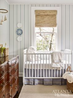 A Fresh Take on Blue and White in an Atlanta Home - preppy boy nursery decor, preppy nursery design with striped wallpaper, traditional nursery design - Nursery Room, Boy Room, Girl Nursery, Kids Bedroom, Nursery Decor, Kids Rooms, Nautical Nursery, Boys Nursery Wallpaper, Royal Nursery