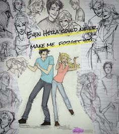 Percabeth Happiness -- Drawn by the wonderful Burdge.