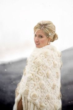 Winter white floral fur cape