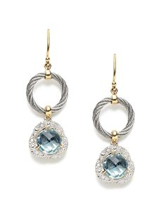 Classique Grey Open Circle & Blue Topaz Geometric Drop Earrings by Charriol at Gilt