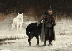 'Günter von Duisburg with his dire wolves Nacht & Tag' character concept art for 'Scythe' game, hope you like it :]