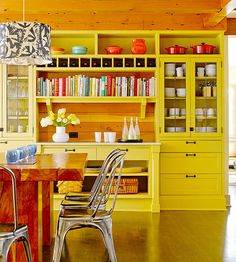 Orange kitchen colors are a great tool for creating optimistic, bright and modern kitchen design and decorating Kitchen Items, New Kitchen, Kitchen Dining, Kitchen Storage, Dining Room, Wall Storage, Dining Area, Storage Ideas, Happy Kitchen