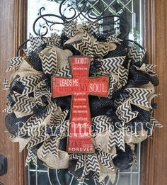 Bienvenue Designs | Red Cross/ Black Chevron Ribbon Wreath