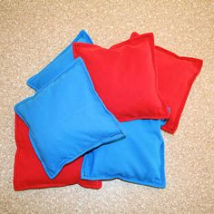Free Bean Bag Pattern and Tutorial: make a set of sturdy, leak-proof bean bags for games or sensory/pressure therapeutic activities (depending on the filling)