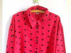 Vintage 80s red blouse Black heart by vintachi on Etsy, $17.00