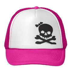 Womens Skull and Crossbones Trucker Hat
