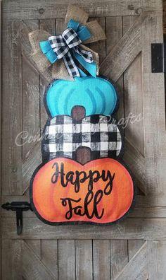 Burlap Door Decorations, Burlap Door Hangings, Fall Decorations, Fall Wooden Door Hangers, Halloween Door Hangers, Wooden Pumpkins, Painted Pumpkins, Painting Burlap, Pumpkin Door Hanger