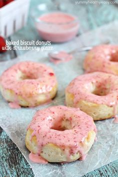 Baked Biscuit Donuts with Strawberry Glaze  - Yummy Healthy Easy