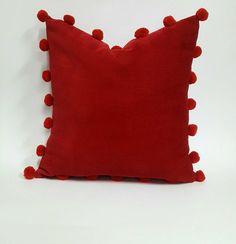Red Velvet Pom Pom Pillow Cover, Soft Velvet Cushion, Red Decor Pillow Case With Pom Poms, Boho Pom Pom Cushion, Velvet Bohemian Pillow