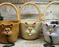 Fils de chat bol - bol en tricot - grand bol de fil avec mignon chat bouche - la poterie fait à la main par Heidi                                                                                                                                                                                 Plus