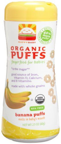 HAPPYBABY Organic Puffs, Banana Puffs, 2.1-Ounce Containers (Pack of 6) $18.21
