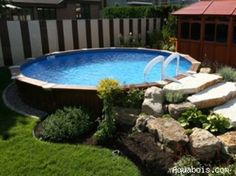 Great landscaping around an above ground pool