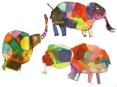 "Students read the book ""Elmer the Elephant"" Students got a chance to create their own Elmer inspired elephant using tissue paper and glue. The used collaging techniques to stick the tissue paper to a large piece of white paper. Then they drew their own elephant and cut it out. They added a few details like eyes and ears."