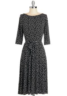 Dot What It Takes Dress by Leota - Black, White, Polka Dots, Work, A-line, 3/4 Sleeve, Knit, Long, Belted